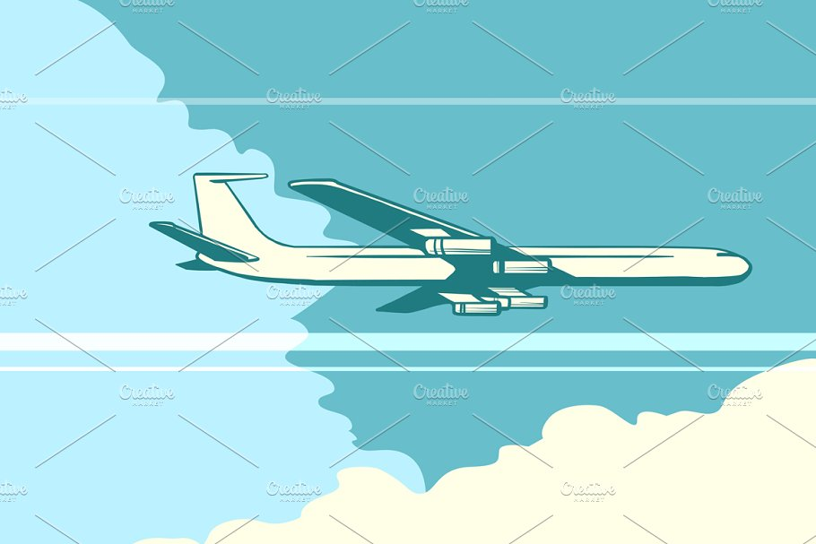 Retro airplane in the sky in Illustrations - product preview 8