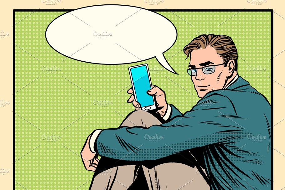 Businessman with smartphone in Illustrations - product preview 8