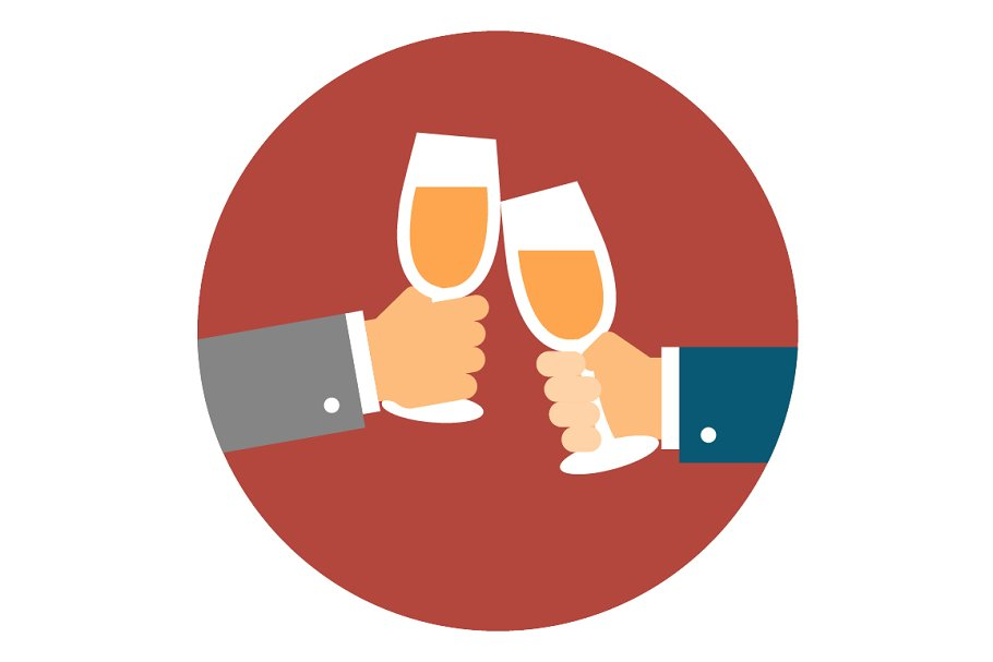 Hands with champagne glasses in Illustrations - product preview 8