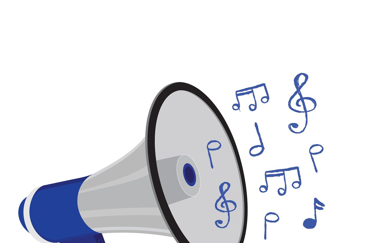 megapnone with music notes in Illustrations - product preview 8