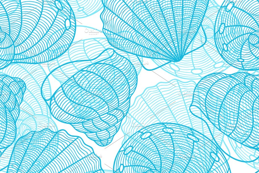 Patterns with stylized seashells in Patterns - product preview 8