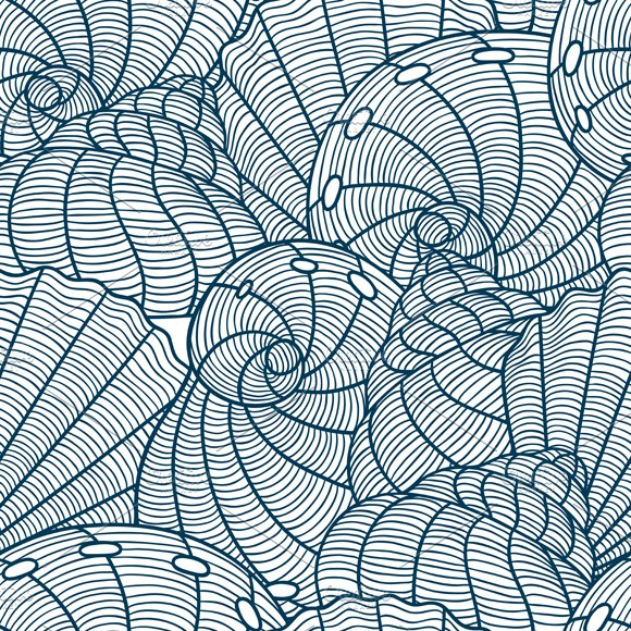 Patterns with stylized seashells in Patterns - product preview 1