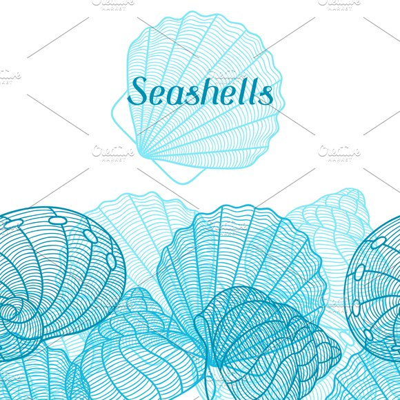 Patterns with stylized seashells in Patterns - product preview 3