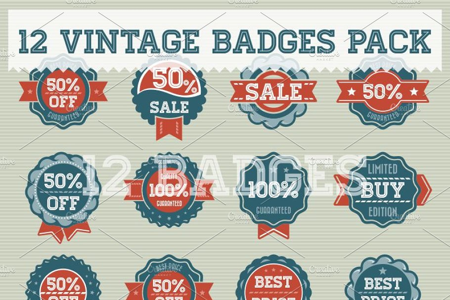 Vintage Badge Pack in Objects - product preview 8