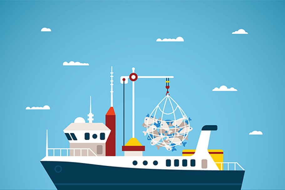 Fishing boat flat style in Illustrations - product preview 8