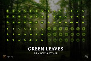 Green Leaves - 84 vector icons