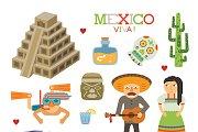 Mexico tourism flat style
