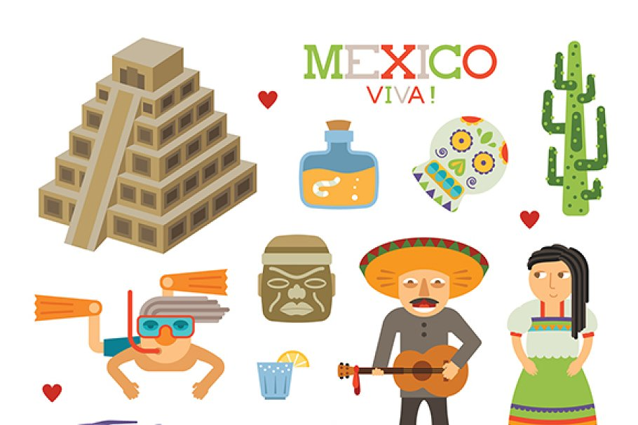 Mexico tourism flat style in Objects - product preview 8