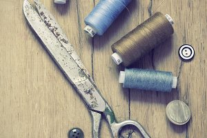 Sewing supplies.Vintage Background
