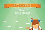 Hitchhiking tourism flat style