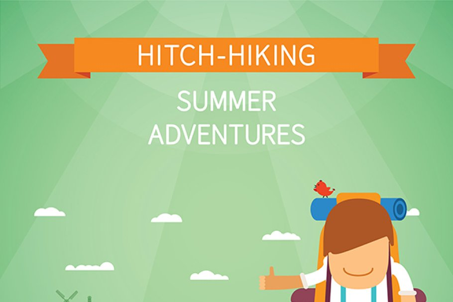 Hitchhiking tourism flat style in Illustrations - product preview 8