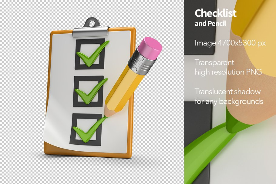 Checklist and Pencil in Objects - product preview 8