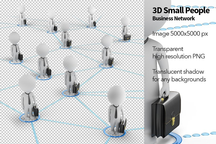 3D Small People - Business Network in Illustrations - product preview 8