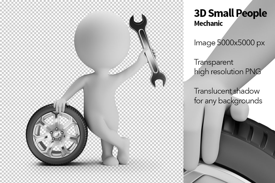 3D Small People - Mechanic in Illustrations - product preview 8