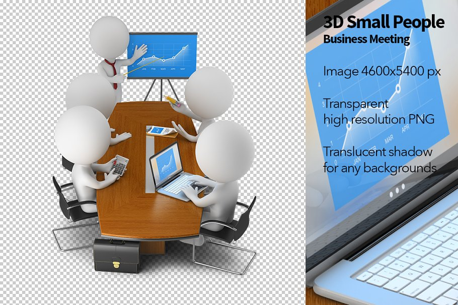 3D Small People - Business Meeting in Illustrations - product preview 8