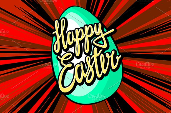 happy easter lettering. rays vector in Graphics - product preview 1