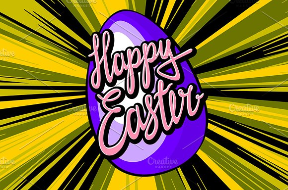 happy easter lettering. rays vector in Graphics - product preview 2