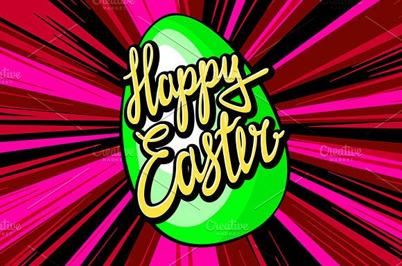 happy easter lettering. rays vector in Graphics - product preview 3