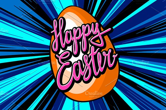 happy easter lettering. rays vector in Graphics - product preview 4