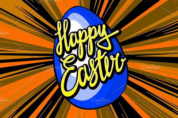 happy easter lettering. rays vector in Graphics - product preview 6