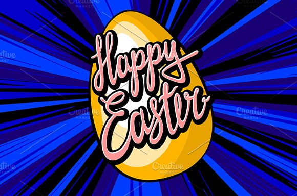 happy easter lettering. rays vector in Graphics - product preview 7