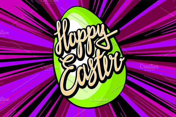 happy easter lettering. rays vector in Graphics - product preview 8