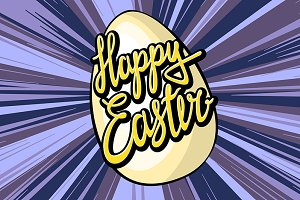 Happy easter lettering rays retro