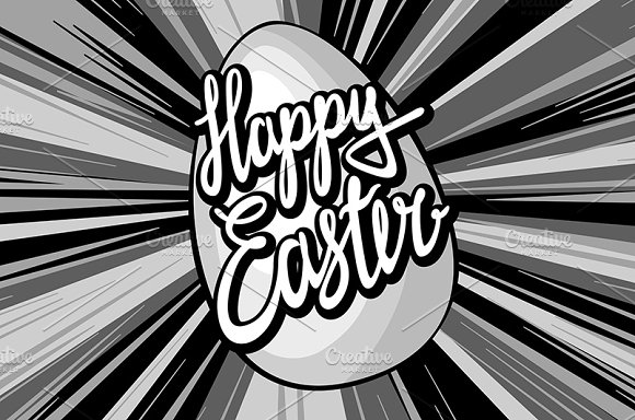 Happy easter lettering rays retro  in Graphics - product preview 1