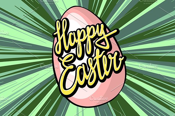 Happy easter lettering rays retro  in Graphics - product preview 2