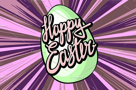 Happy easter lettering rays retro  in Graphics - product preview 3