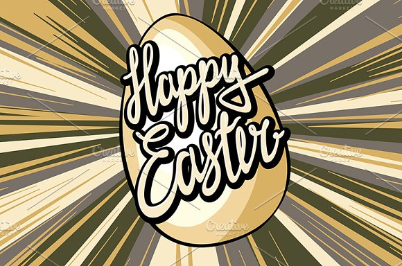 Happy easter lettering rays retro  in Graphics - product preview 4