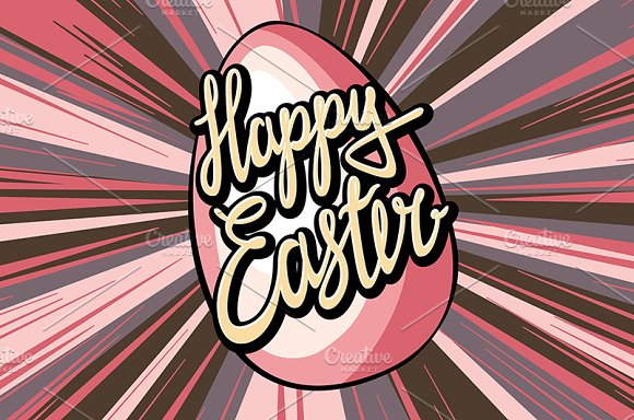 Happy easter lettering rays retro  in Graphics - product preview 5