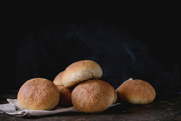 Fresh baked wholegrain buns