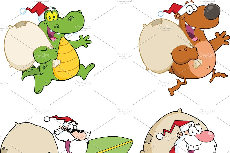 Santa Claus And Animals Collection in Illustrations - product preview 8
