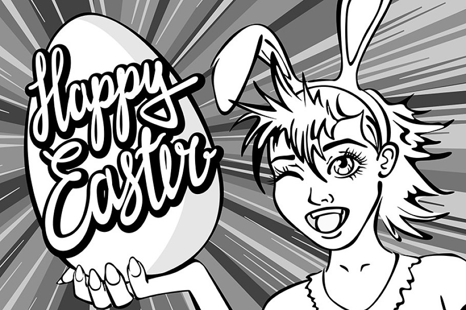 closeup girl bunny easter lettering in Graphics - product preview 8