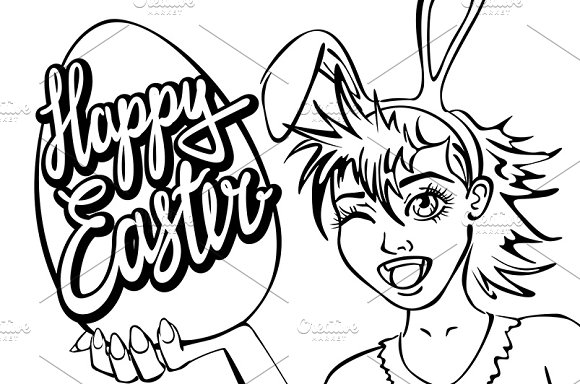 closeup girl bunny easter lettering in Graphics - product preview 2
