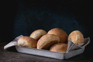 Fresh baked wholegrain buns