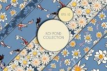 Koi Pond. Seamless Patterns EPS