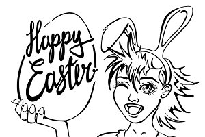 closeup girl bunny easter lettering