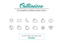 25 Outline Stroke Weather Icons