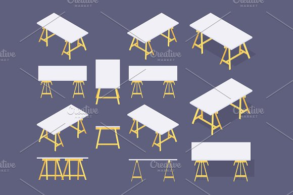Isometric Working Table in Objects - product preview 1