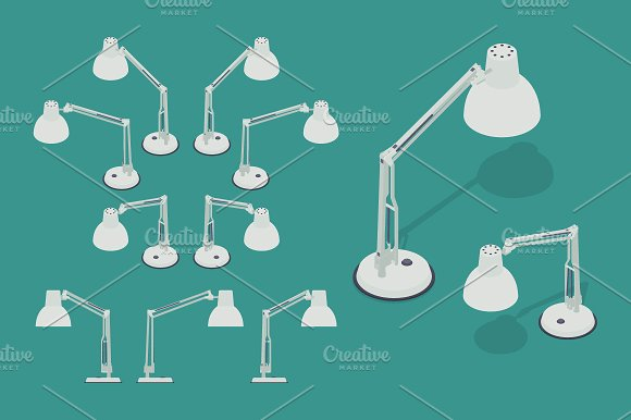 Isometric White Desk Lamp in Objects - product preview 1