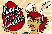 anime closeup of winking bunny girl