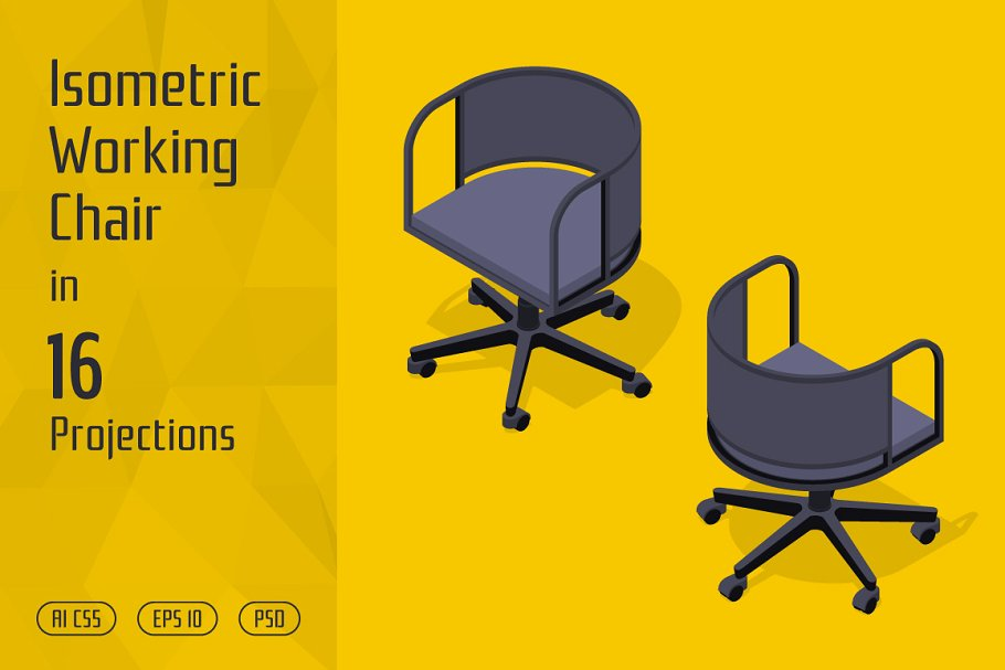 Isometric Working Chair in Objects - product preview 8