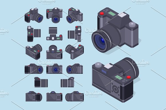 Isometric Photo Camera in Objects - product preview 1