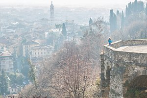 View of ancient italian town Bergamo