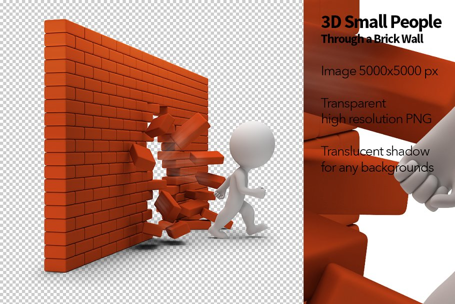 3D Small People - Brick Wall in Illustrations - product preview 8