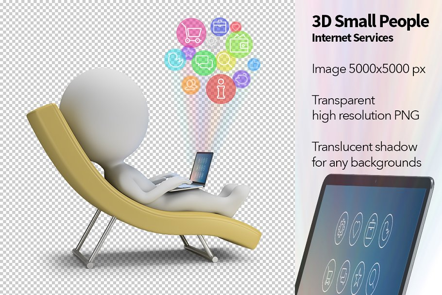 3D Small People - Internet Services in Illustrations - product preview 8