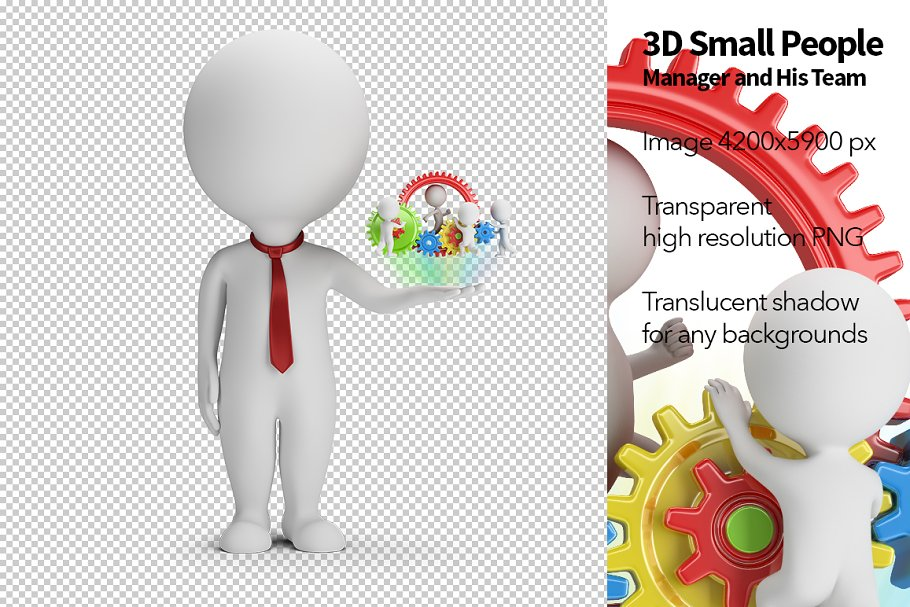 3D Small People - Manager and Team in Illustrations - product preview 8