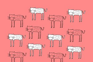 Cat pattern vector illustration